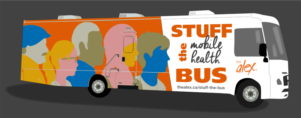 Graphic of The Alex community health bus that reads: Stuff the mobile health bus