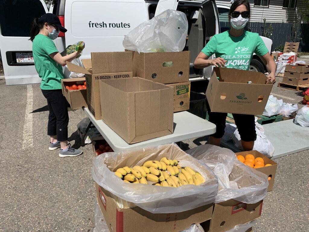 Alex staff unloading fresh produce from a van