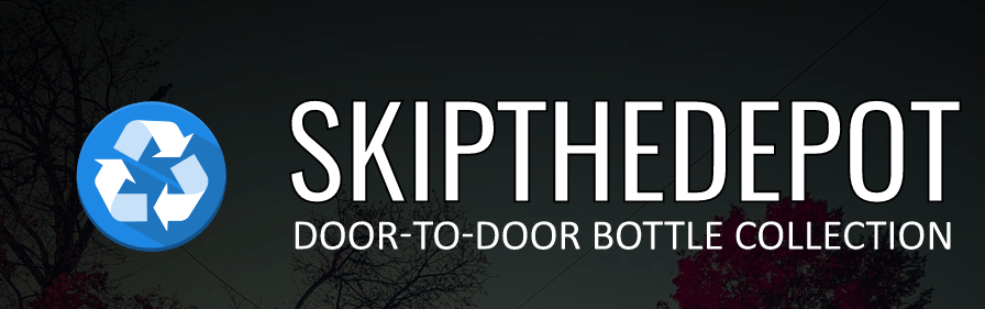 """Skip the depot logo with tagline that reads """"door to door bottle collection"""""""