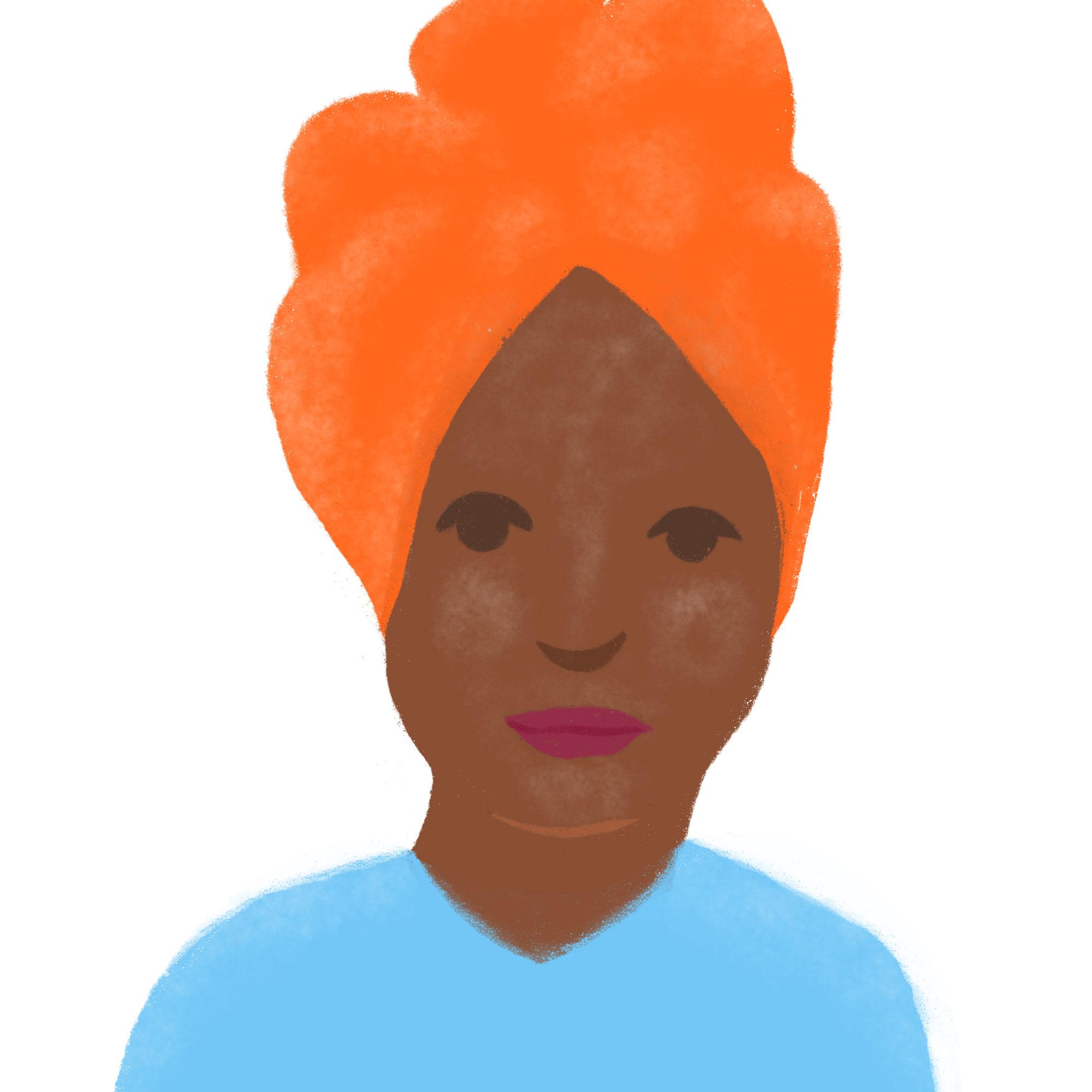 Illustration of black woman wearing an orange turban and blue shirt