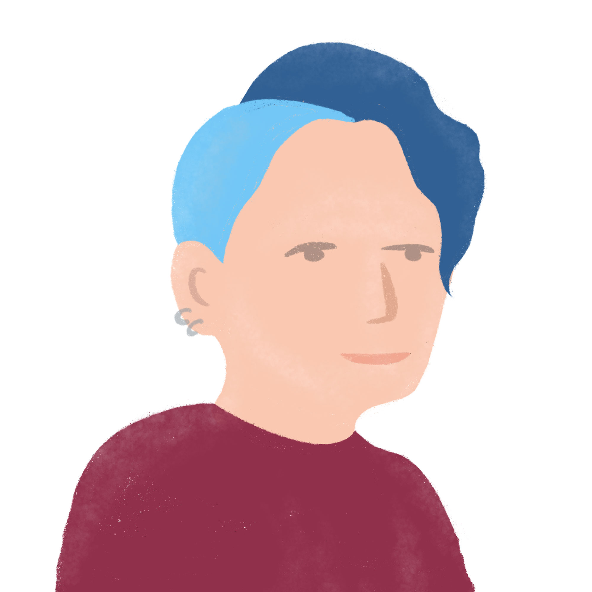 Illustration of white person with ear piercings and blue hair, wearing a red shirt